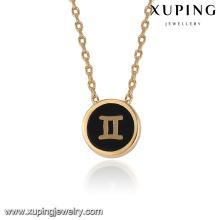 43409 collier accessoires de mode collier de bijoux plaqué or avec pendentif en or Gemini simple