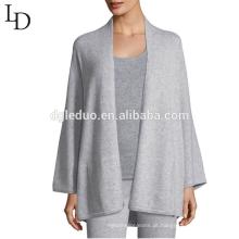 Nova chegada personalizado planície mangas compridas de malha suéter de cashmere para as mulheres