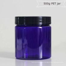 Frasco Pet Jar azul de 500g con tapa de metal