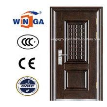 Madera marrón color de seguridad de hierro Metal Puerta de acero (WS-115)