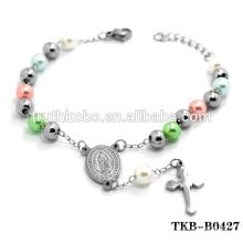 Stainless Steel Catholic Bracelet Wholesale Religious Rosary Bracelet Catholic Our Lady of Guadalupe Cross Bracelet