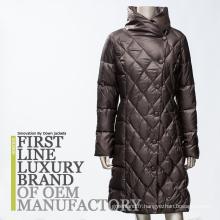 2017 Femmes Russes Classiques Slim Fit Long Goose Down Coat avec Big Round Fancy Collar