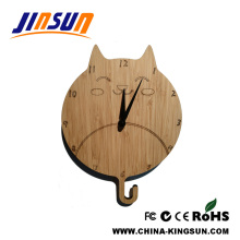 Lovely Cat Bamboo Wall Clock