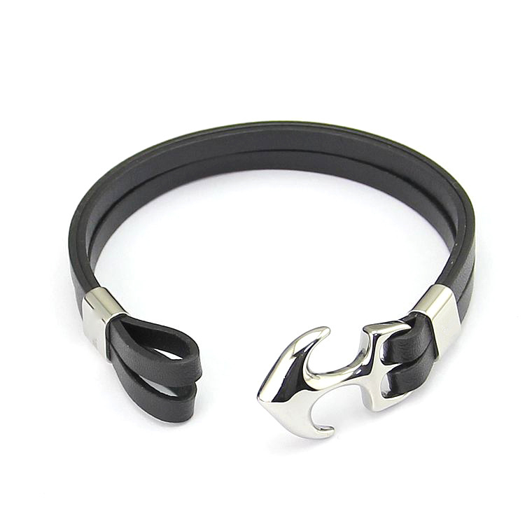 Anchor Flat Leather Bracelet