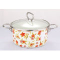 Enamel Stock Pot with Full Flower Decals