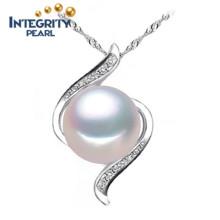 Süßwasser-ursprüngliche Perlen-Anhänger AAA-Brot-runde 10-11mm 925 silberne Perlen-hängende Halskette