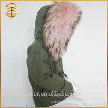 China fabricante Servicio de OEM Kid Hood Racoon Fur Parka