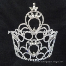Venta al por mayor miss mundo tiaras de color blanco rhinestone boda corona tiara