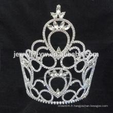 Vente en gros miss tiaras du monde couleur blanc strass mariage couronne tiare