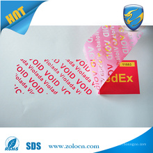 printing customized design tamper evident security void label