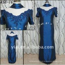 RSE16 Las señoras libres del envío forman Applique y granos hermosos más el vestido de noche azul del tafetán del tamaño con el mantón
