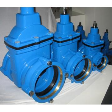 Válvula de compuerta asentada resistente con tomas para tuberías de PE y PVC