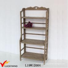 4 Tiers Vintage Wood Shelf Flower Rack