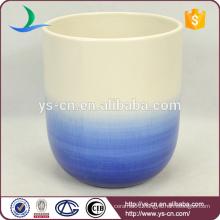 big blue cylinder carved ceramic decoration vase for flower