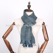 100% Wolle blau Hahnentritt-Schal
