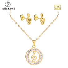 Gold Plated Crystal Music Note Pendant Necklace And Earring Jewelry Sets