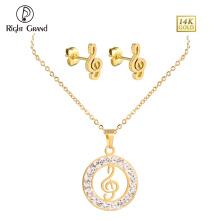 Banhado a ouro cristal nota de música colar de pingente e conjuntos de jóias brinco