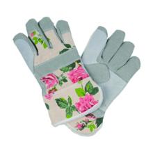 Imitate Skin Garden Glove with Cow Split Palm Flower Canvas Back