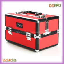 Red PU Professional Makeup Case Medium Size Cosmetic Case with Black Interior (SACMC002)