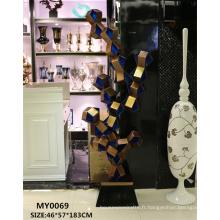Grande résine statue bleu nouvelle technologie décoratif plancher polyresin sculpture carrée