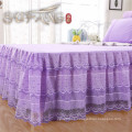 Lace border sand wash cotton korean bedding set , hotel bed spread