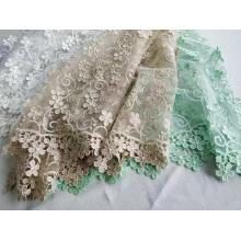 Tissu de broderie de fleurs en polyester 3D