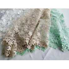 Polyester 3D Flower Embroidery Fabric
