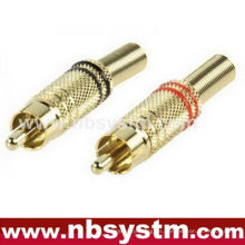 RCA enchufe metal con resorte Oro ID 5.8mm