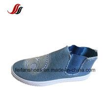 Reine Farbe Jean Canvas Injection Schuhe, Beleg auf Schuhen mit Spandex