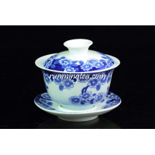 """Butterflies Lingering Over Flowers"" Painting blue tea cup with saucer(180cc)"