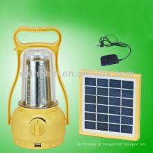 Fonte verde plástico ABS / PC transparente levou lanterna camping solar festa lanterna