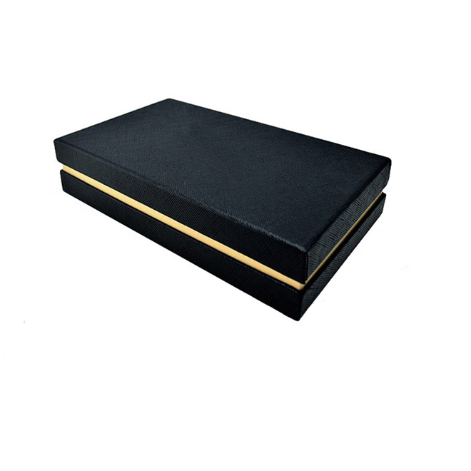 black fancy paper base and top rigid gift box