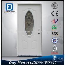 Porte en verre d'acier extérieur décoratif enduit d'apprêt blanc enduit de poudre de Fangda