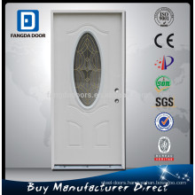 Fangda powder coated primed white decorative exterior steel glass door