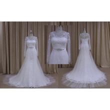 Vestido de boda del cordón de la manga larga de la venta caliente con la correa moldeada