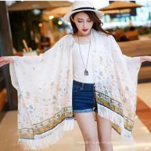 Las mujeres de la moda imprimen bufanda floral del mantón del cabo del verano de la mariposa floral