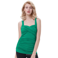 Belle Poque Green Ärmelloses Cross Front Sweetheart Classic 50S Vintage Pinup Tank Tops BP000342-3
