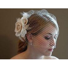2014 New Arrival Marquise de pássaros de marfim incrível com véu de casamento de flores