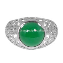 Зеленый Оникс Драгоценных Камней 925 Чистого Серебра Кольцо Ювелирных Изделий