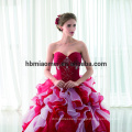Wholesale New Fashion Chiffon Puffy Red Lace Sexy Floor-length Two-pieces Cheap Evening Dress 2017