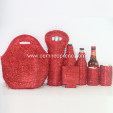 Fashionable Red Neoprene Thermal Lunch Bags