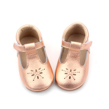 Soft Leather Baby Girl Mary Jane sapatos de vestido