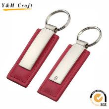 Keychain en cuir d'unité centrale avec le logo adapté aux besoins du client (Y02196)