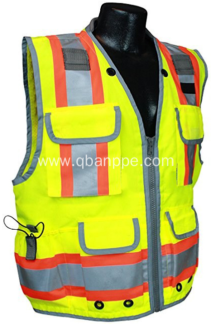 reflective trim vest with pockets silver light