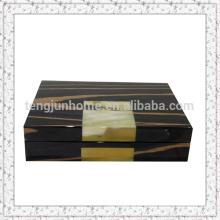Boîte à bijoux en bois Eco avec chaume de bœuf Cadeau de luxe