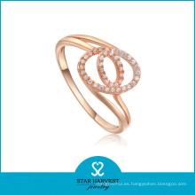 Joyería genuina del anillo de la plata de la galjanoplastia del oro de Rose con CZ (R-0004)