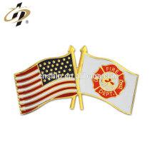 Departamento de bomberos de metal personalizado y pin de solapa de la bandera de Estados Unidos