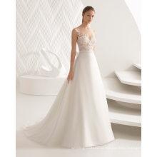 Cap Manga Sheer Lace Top Organza vestido de noiva vestido de noiva