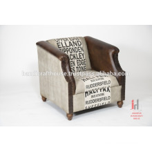 Leather and printed canvas living room sofa