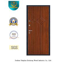 Puerta de acero de seguridad estilo moderno con bolsillo de acero en la puerta (s-1012)